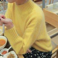 秋冬新款半高领黄色的毛衣女网红宽松兔毛加厚保暖针织衫