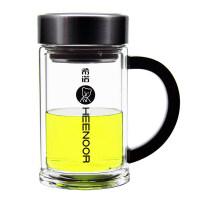 双层玻璃茶杯带盖商务男士隔热办公杯 带把带滤网水杯子 无色透明