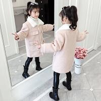 女童冬装加绒加厚毛呢大衣外套2019秋冬季新款韩版呢子童装
