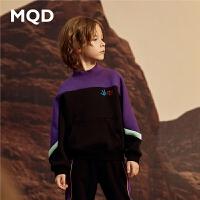 MQD童装男童19秋冬新款卡通连帽半高领加厚保暖卫衣韩版加绒套头