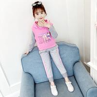 2019新款韩版童装中大童春秋季时髦卫衣三件套女童秋装套装