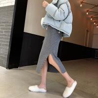 高腰针织半身裙秋冬女毛线裙灰色中长款包臀裙开叉一步裙 灰色 均码