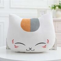 滑稽抱枕可戴头上 猫咪老师抱枕办公室靠垫暖手可插手捂猫老师动漫午睡