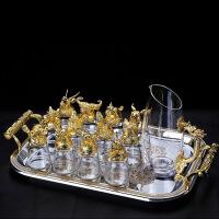 【好货】12只十二生肖白酒杯套装分酒器水晶玻璃中式酒具小酒杯一口杯家用