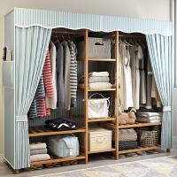 简约现代经济型组装可拆卸简易大布衣柜实木家用牛津布衣橱 2门 组装