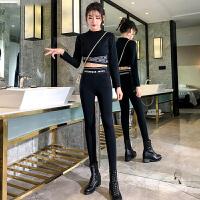 加绒加厚打底裤女外穿秋冬修身高腰加长黑色紧身小脚运动裤子