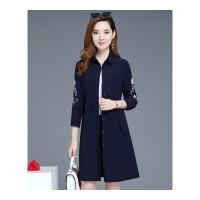 风衣外套女秋季新款韩版修身显瘦中长款小个子绣花秋装外套潮