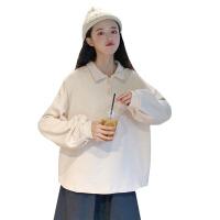 秋季女装韩版宽松纯色后背卡通刺绣POLO衫学生长袖T恤卫衣上衣潮 均码