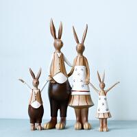 乔迁新居礼品新婚结婚礼物美式兔子一家四口创意客厅酒柜装饰摆件