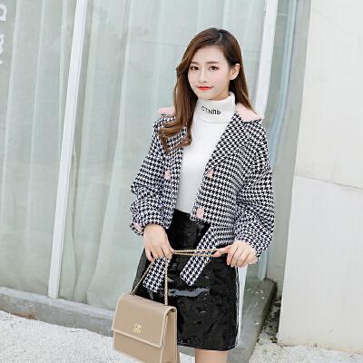 毛呢外套女2018新款羊绒大衣中长款黑白千鸟格子毛呢短款复古外套