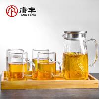 唐丰耐热玻璃茶具套装浮雕冷水壶竹托盘日式电热煮茶烧水壶大容量