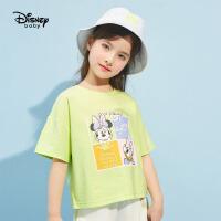 迪士尼女童短袖T恤2021夏季新款洋气打底衫儿童卡通针织上衣