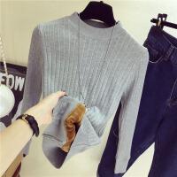 秋冬季半高领打底衫2018新款加绒毛衣女士长袖加厚套头修身针织衫