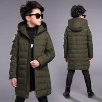 男童冬装外套新款中长款羽绒棉衣男童中大童12加厚15岁潮 军绿色287 120cm(120码适合115左右