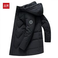 【1件3折到手价:432元】高梵加厚中长款羽绒服男款2019冬季新款韩版休闲连帽黑色保暖外套