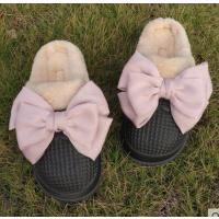 居家保暖毛绒防滑可拆卸加绒拖鞋外穿蝴蝶结棉拖鞋女冬季防水室内