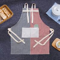 棉麻围裙时尚简约防油做饭围腰 韩版厨房成人无袖家居罩衣