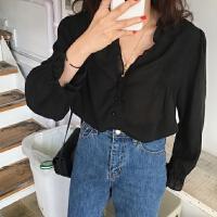 春季韩版女装宽松复古荷叶边V领衬衫外套气质单排扣衬衣开衫上衣