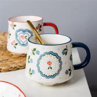 摩登主�D陶瓷�R克杯��勺牛奶杯��片早餐杯子水杯大容量咖啡杯家用