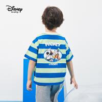 6.21超品【4件2.2折:39.3元】迪士尼童装男童针织条纹短袖T恤2021夏季新款儿童洋气卡通上衣潮