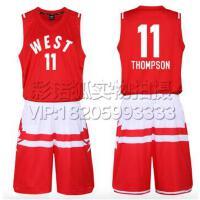 11号汤普森篮球服 2016全明星球衣东西部篮球服套装背心 团购比赛装免费定制LOGO设计印字印号