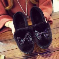 老北京布鞋女棉鞋 秋冬季加绒保暖平底毛毛棉鞋工作鞋低帮豆豆鞋