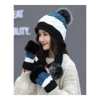 帽子女冬季护耳针织毛线帽加厚保暖手套学生韩版潮百搭新款帽