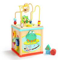 青蛙绕珠百宝箱一岁宝宝串珠玩具1-2-3周岁男女孩早教 青蛙五合一铁线绕珠
