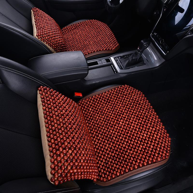 汽车坐垫防滑坐垫夏单片木珠汽车坐垫无靠背三件套透气防滑梨木小方垫夏天凉座垫