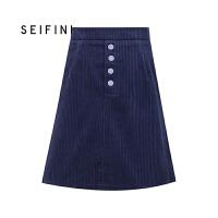 商场同款诗凡黎冬装新款灯芯绒a字裙短裙半身裙318A145431C