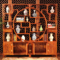 【热卖新品】博古架中式实木古董架多宝阁展示柜陈列柜茶具架隔断摆件玄关柜 1-1.2米