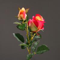 2头玫瑰高仿真花手感装饰花 客厅餐厅干花花束插花花卉结婚装饰品
