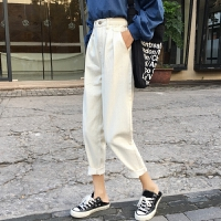 三木子快时尚女装~高腰宽松直筒牛仔裤小脚垮裤