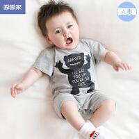 0-3个月宝宝夏装婴儿连体衣夏季潮服男婴儿衣服棉短袖哈衣