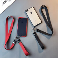 硅胶透明简约款iphone6splus手机壳苹果8挂绳xsmax防摔7套xr女11pro六七八软套挂脖子男中性风
