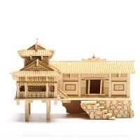 创意礼物 儿童拼图木制立体3d益智建筑手工制作木头模型房子别墅花园