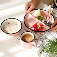 儿童餐盘陶瓷分格餐盘 粉色早餐盘分隔儿童早餐盘牛奶杯 餐碗叉勺儿童餐具yw wk-132
