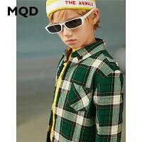 【1件2.5折券后价:89】MQD童装男童长袖格子衬衫20冬新款韩版上衣儿童格纹加绒保暖衬衣