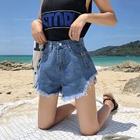 三木子快时尚女装~新款韩版高腰牛仔短裤女夏时尚耳仔毛边显瘦
