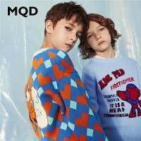 【2件3折:144】MQD童装儿童毛衣2020春季新款中大童鸳鸯拼接毛衫儿童针织开衫潮