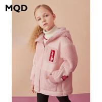 【1件2.5折券后�r:189】MQD童�b女童�B帽皮感棉衣2020冬�b新款�和�加厚保暖外套