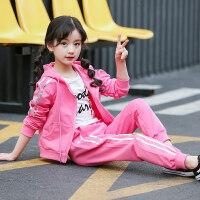 女童秋天套装2017新款儿童春秋卫衣运动两件套大童洋气潮衣服wk-95