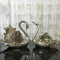 欧式天鹅摆件客厅电视酒柜摆设美式装饰工艺品新婚新房结婚礼物