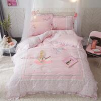 儿童纯棉四件套女孩公主风卡通床单被套三件套床笠男孩全棉床品 1.8m床四件套适用被芯200x230cm 床笠款