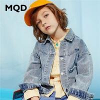 MQD童装儿童牛仔外套2020冬装男童新款工装洋气上衣中大童外套潮