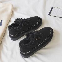 短靴子女新款冬季网红加绒雪地棉鞋百搭韩版学生短筒雪地靴潮