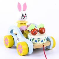 拖拉车 儿童拖拉学步玩具婴儿宝宝拉车玩具动物敲鼓手拉绳拉线玩具车