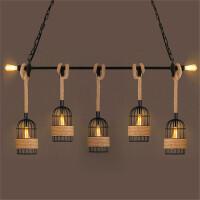 loft复古工业风吧台餐厅创意个性网咖啡厅酒吧服装店铺麻绳吊灯 米白色 5头配爱迪生灯泡
