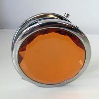便携式化妆镜 创意定制刻字水晶切面双面折叠化妆镜小巧型送女生闺蜜生日礼物