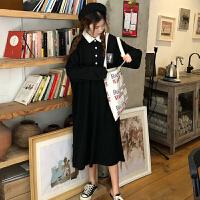 连衣裙秋装女2018新款早秋裙韩版宽松裙子学生文艺长裙 黑色(加厚) 均码